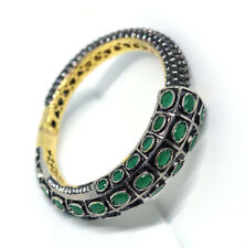 Green Onyx & CZ Gemstone High Gold Plated Cuff Bangle Bracelet For Christmas