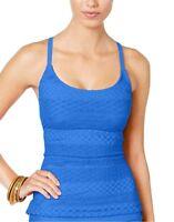 Island Escape crochet blue strappy back Add a Size push up tankini top 16