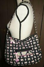 VERA BRADLEY black & pink ELEPHANT Hobo shoulder purse bag