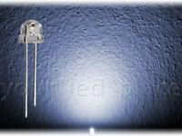 50 x LED 5mm straw hat KALTWEIß 90-120° weiß Kurzkopf Flachkopf Ultrahell white