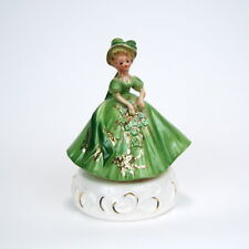 Vintage Josef Originals Lady in Green Colonial Outfit Musical Figurine