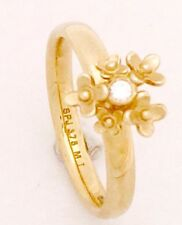"9ct Yellow Gold ""Spinning""  CZ Set Flowers Stackable Ring 2.5mm Thick NOT PLATED"