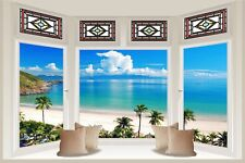 Huge 3D Bay Window Exotic Ocean Beach View Wall Stickers Decal Wallpaper S85