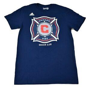 adidas MLS Mens Chicago Fire Soccer Club Go-To-Tee Shirt New S, L, XL