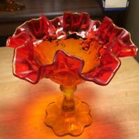 "Vintage Fenton Amberina Art Glass Cabbage Rose 6 1/2"" Ruffled Compote Signed"