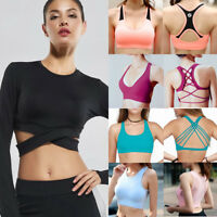 Womens Tank Top Padded Sports Yoga Workout Athletic Running Fitness Gym Bra 2019