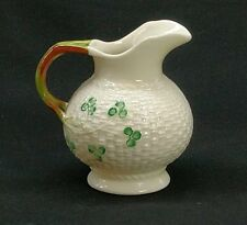 Belleek China Basket Weave Pattern Shamrock Creamer Ireland 6th/3rd Green Mark