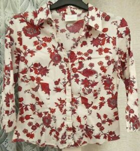 ( Ref 6332 ) Principles - Size 14 - White / Burgundy 3/4 Sleeve Blouse / Top