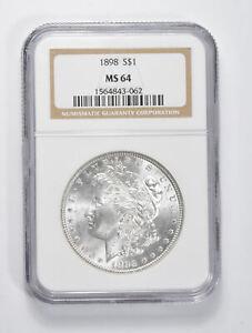 MS64 GRADED - 1898 Morgan Silver Dollar- NGC *920