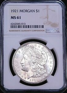 1921 P Morgan Silver Dollar NGC MS61 Frosty White Luster PQ Just Graded #G308
