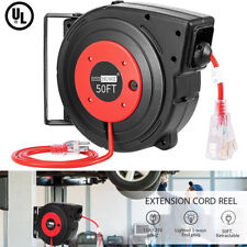 Retractable Extension Cord Reels 50 Feet w/ Swivel Bracket Led Light Connector