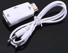 HDMI zu VGA Konverter Adapter Display Stecker Kabel + Audio PC Monitor Desktop