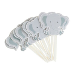 Elephant Baby Shower Cupcake Toppers Baby Kids Girl Boy Birthday Party Picks