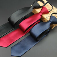 Men Classic Thin Skinny Zipper Neck Ties Solid Satin Pre-tied Wedding Neckties