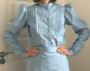 Handmade Victorian style Women blouse shirt puffy sleeve, pleats, sizes 4-30