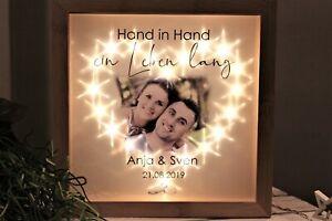 Geschenk zur Hochzeit Bilderrahmen Herz aus LED mit Namen u. Datum + IHREM FOTO!