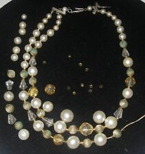 Vintage JEWELRY Part or Repair 2 Strand Collar Necklace Faux Pearl/gold bead 14""