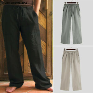 Men's 100%Cotton Casual Pants Sports Yoga Chino Drawstring Loose Solid Trousers