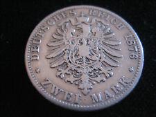 """MDS DEUTSCHES REICH ZWEI 2 MARK 1876 B """"WILHELM V. PREUSSEN"""", SILBER  #54"""