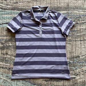 Women's Nike Dri Fit Tour Performance Golf Purple Striped Golfing Polo Shirt L