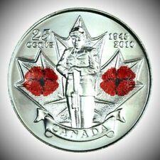 Canada 2010 Remembrance Day Poppy x3 25 Cents Gem BU UNC Quarter!!