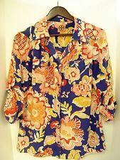 Tory Burch Silk Floral Long Sleeve Shirt Logo Spring Flowers Colorful