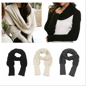 Women Winter Cotton Sweater Tops Warm Knitted Scarf Sleeve Wrap Shawl Scarves UK