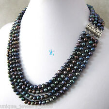 """Pearl Necklace Strand Jewelry 18-21"""" 5-7mm Peacock 4Row Freshwater"""