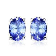 Women Genuine Blue Tanzanite Oval Stud  Earrings Solid 925 Sterling Silver Gift