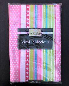 """Newbridge Polka Dot Stripe Pink Pastels 70"""" Round Vinyl Umbrella Tablecloth"""