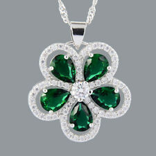 Xmas Pear Cut Green Emerald 18K White Gold Plated CZ Pendant Necklace Free Chain