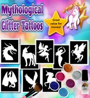 MYTHICAL Glitter Tattoos FREE DELIVERY,Unicorn,mermaid,fairies, glitter & glue