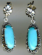 925 Sterling Silver Turquoise & Marcasite drop / Dangle Earrings Length 1.1/5""