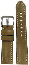 20mm Panatime Sand Distressed Vintage Leather Watch Band w/White Stitch 125/75