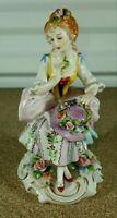 """Antique German Sitzendorf Porcelain Figurine, Woman With Flowers Hat, 5.5"""" H."""