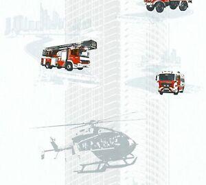 Kindertapete Feuerwehr Helikopter weiß rot Glanz Little Stars 35813-1 (2,69€/1qm