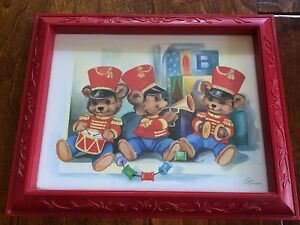 "C Hansen Bear Print Picture with Red Frame  13""x10.5"" Nursery  Boy Girl,"