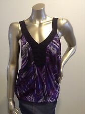 Suzannegrae Blue & purple print top jersey stretch fabric size Large Good Cond
