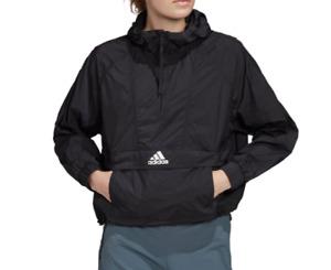 adidas Windbreaker Womens XL Authentic Wind Ready Anorak 1/2 Zip Crop Black