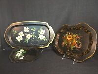Vintage Lot of 3 Hand-Painted Toleware Floral Design Tin Metal Serving Tray