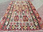 "Vintage Turkish Kilim, Antique Rug, Large Rugs, Kelim, Teppiche, Carpet 76""x125"""
