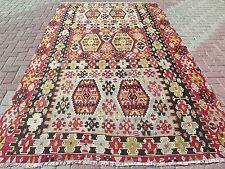 "Vintage Turkish Kilim Rug,Antique Rug,Wool Rug,Rugs75,5""x124,8"" Area Rug,Carpet"