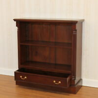 1 Drawer Small Open Bookcase 100x37x104cm Walnut Wax Polished,mahogany,FREE DEL.