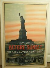 Vintage Wwi Poster Before Sunset By A Us Bond 2nd Liberty Loan of 1917 Dry Mount