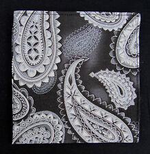 Mens Black, Grey & Silver Large Paisley Pocket Square/Kerchief/Hanky