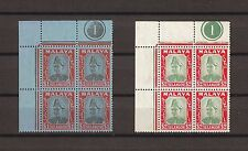 MALAYA/SELANGOR 1941 SG86/7 MNH Blocks of Four . Cat £296