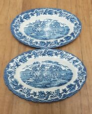 "Vintage Royal Wessex 9"" Inch Sandwich Plates x 2 Blue & White Dishes"