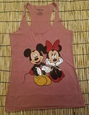 Disney Mickey Mouse and Minnie Mouse Women's Juniors Heather Red Tank T-Shirt S