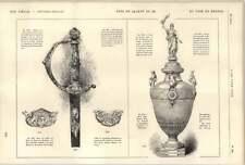 1882 Silver And Gold Sword Enamels James F Meurice Bronze Vase Christofle