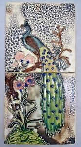 TILE PEACOCK ON TREE VINTAGE CERAMIC PORCELAIN ART NOUVEAU INDIA GWALIOR OLD#276